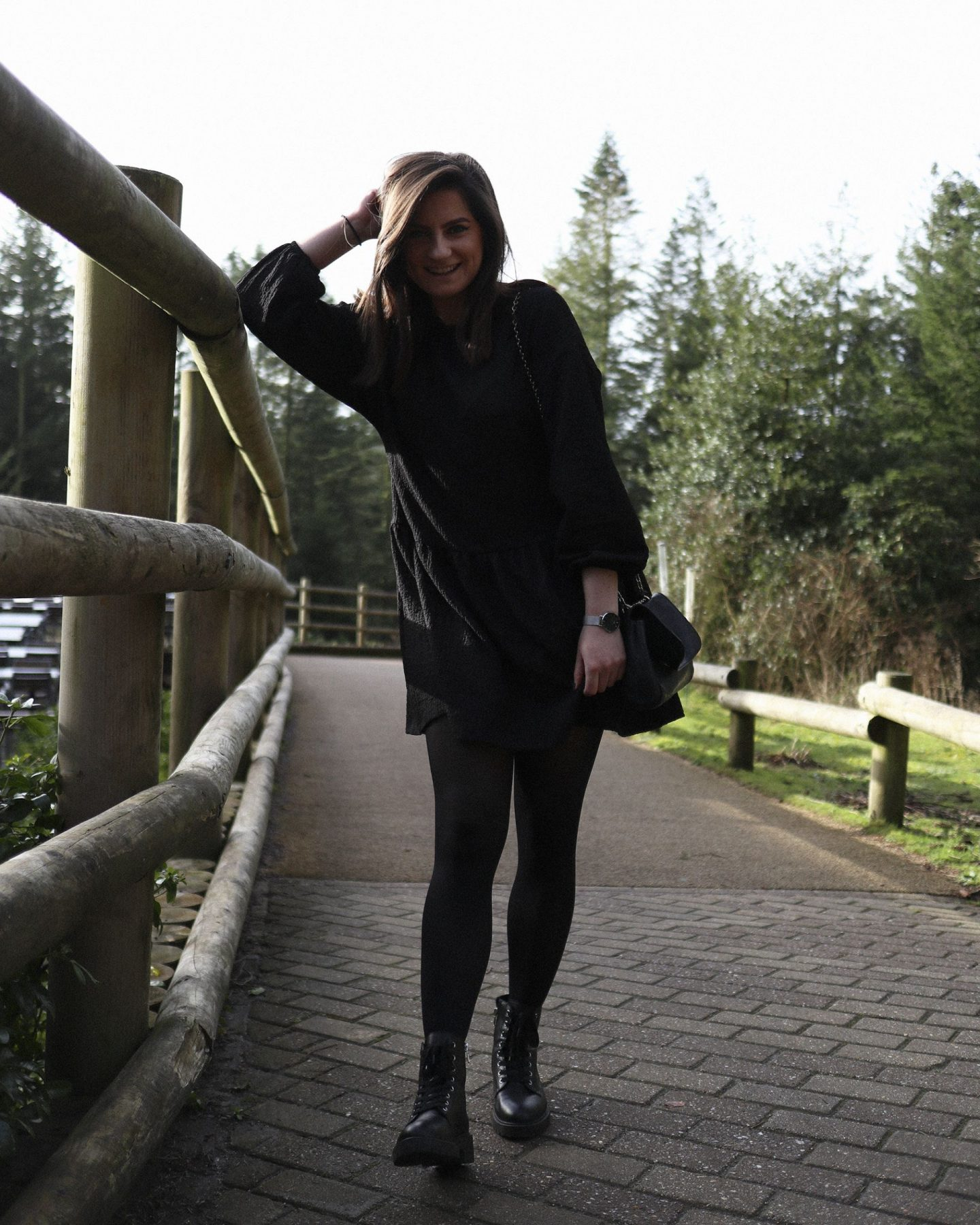 girl with brown hair at center parcs wearing bershka dress